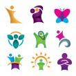 Happy creative & abstract people icon set for human success in reach for star, Business community — Vecteur