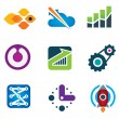 Modern society rapid progress growth in intelligent computer technology science icon set, Rocket launch and flying to the stars designer concept icon — Stock Vector