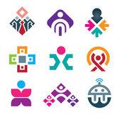 Lidé se připojujete prostřednictvím živé barevné sociální interakce ikonu nastavit barevné lidi — Stock vektor