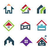 My beautiful sweet home icon set family locator, Home in small social global community — Stock Vector
