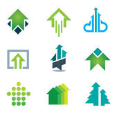 Green success business icons set in motivation and economy finance and banking, Green arrows — Wektor stockowy