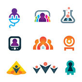 People shape with great ideas in objects and new technology icon set, People in objects — Stock Vector