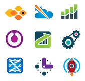 Modern society rapid progress growth in intelligent computer technology science icon set, Rocket launch and flying to the stars designer concept icon — Stockvector