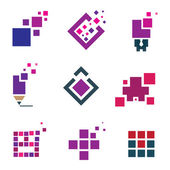 Human creativity idea building block cube material experience icon set pixel — Stock Vector