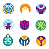 People in circle social community IT developer icon set — Stock Vector