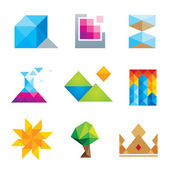 Extremely creative beautiful design polygons geometric art icon set — Stock Vector