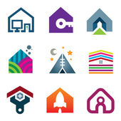 Beautiful modern house creative ideas construction of future icon set — Stock Vector