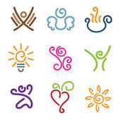 Creativity showcase of people emotions and innovations icon set — Stock Vector
