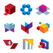 Human great imagination and box cube colorful creativity icon set — Stock Vector