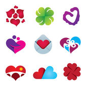 Beautiful feeling of love emotion heart design icon set — Stock Vector