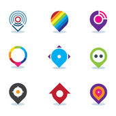 Modern world app global position locator community internet media logo icon — Stock Vector