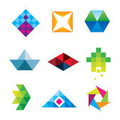 Beautiful geometric polygon art design arrow new dimension logo set icon — Stock Vector