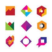 Quality geometric base logo art design abstract polygon icon set — Stock Vector