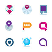 Global internet community in home system positioning logo icon — Vector de stock