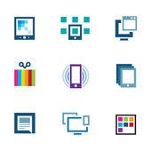Posicionarse editar contenido y comparten con el icono del logo mundo — Vector de stock