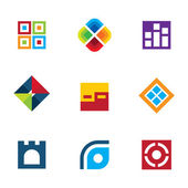 Colorful startup innovation idea icon set business abstract logo vector — Stock Vector