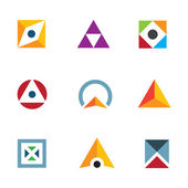Geometric shape triangle circle and cube inspiring combination logo icon — Stock Vector