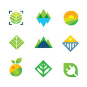 Wild green nature captured energy for future generation logo icon — Stock Vector