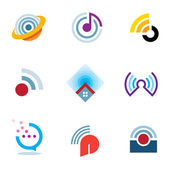 Ether world connectivity signal location positioning waves transmitting logo icons — Vector de stock