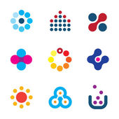 Connecting innovation new dots technology research app creativity logo icons — Stock Vector