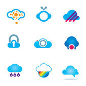 Futuristic cloud software technology app for mobile phones logo icons — Stock Vector