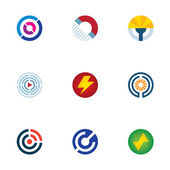 Technology power abstract circle signal wave science logo icons set — Stock Vector