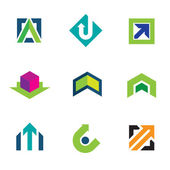 Business company economy green arrow progress logo icon set — Stock Vector