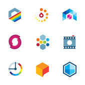 Artist design community logo creative industry visual icon set — Stock Vector