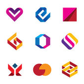 Creative business company tape line help care logo icon set — Stock Vector