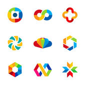 Color capture imagination limitless education share community logo icon set — 图库矢量图片