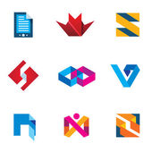 Startup innovation business innovation logo icon set next generation digital — Stock Vector
