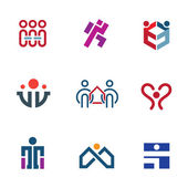 Share people community help for rebuilding society logo icon set — Stock Vector