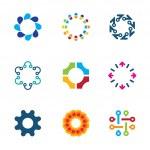 Colorful social circle partnership technology connection bond logo icon set — Stock Vector