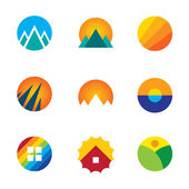 Beautiful nature circle view landscape logo set mountains experience icon — Stock Vector