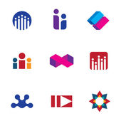 Abstract social networking community people logo set forum icon vector — Stock Vector