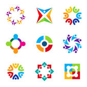 Partnership education circle spiral icon set focus on education logo — Stock Vector