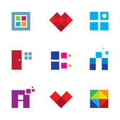 Creative pixel cube door window opportunity dimension logo icon set — Stock Vector