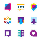 Chat talk bubble people conversation video communication logo icon set — Stock Vector