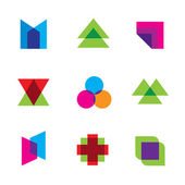 Geometric mosaic art polygons shape dimension logo icon set vector — Stock Vector