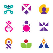 Genetic evolution human technology engineering logo set family icon DNA — Stock Vector