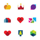 Royal shapes mosaic geometric logo peaces colorful vector icon set — Stock Vector