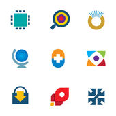 Innovation 3d technology online search download icon set inspiration logo — Stock Vector