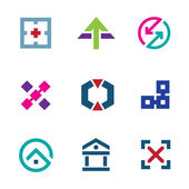 Navigation positioning menu bar startup business logo flexible icon set — Stock Vector