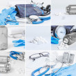 Medical objects collage — Stock fotografie
