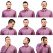 Collection of portraits male face expressions — Stock Photo