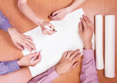 Business hands working with documents — Stock Photo