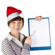 Woman showing on whiteboard — Stock Photo