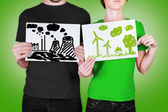 Bad and good concept of ecology — Stock Photo