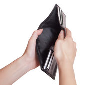 Black empty purse — Stock Photo