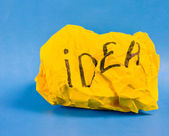 Crumpled yellow paper — Stock Photo